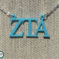 Greek Floating Letters Zeta Tau Alpha Necklace