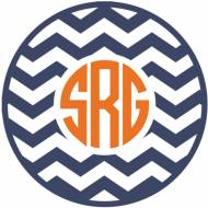 Monogram Chevron Vinyl Car Decal In Circle Or Script Fonts
