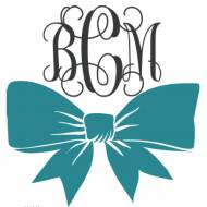 Monogram Vinyl Bow Decal In Block Or Script Fonts