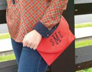 Monogrammed Red Convertible Envelope Purse