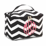 Monogrammed Large Black Chevron Cosmetic Bag