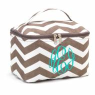 Monogrammed Large Taupe Chevron Cosmetic Bag