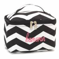 Monogrammed Mini Black Chevron Cosmetic Bag