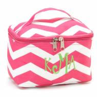 Monogrammed Mini Pink Chevron Cosmetic Bag