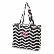 Monogrammed Zip Top Black Chevron Tote