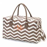 Monogrammed Taupe Chevron Weekender Travel Bag