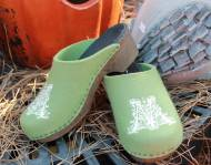 Moss Green Wool Clogs With Our Filigree Monogram In White With Brown Flex Heels