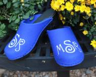 Royla Blue Wool Clogs With A Curly Que Monogram In White Thread