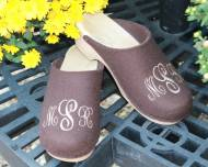 Brown Wool Clogs With A Sydney Monogram In Cream Thread On A Natural Flex Heel