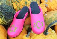 Magenta Wool Clogs With A Lime Green Block Monogram