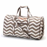 Monogrammed Large Lined Taupe Chevron Duffle Bag