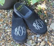 Black Suede  Clogs With A Grey Interlocking Script Monogram