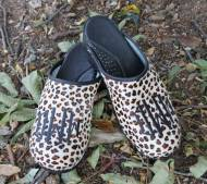 Leopard Fur Clogs With A Diamond Black Monogram