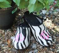 Zebra Fur Clogs With A Hot Pink Diamond Monogram