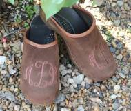 Brown Suede Clogs With Brown Thread Monogram In Interlocking Script