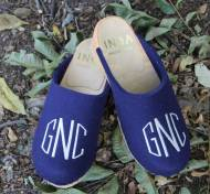 Royal Blue Wool Clogs With A White Circle Monogram