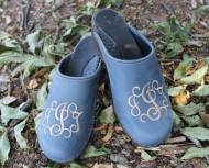 Denim Leather Clogs With A Kaki Pendant Font Monogram