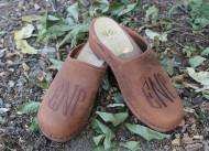 Brown Nubuck Clogs With Brown Circle Monogram