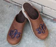Brown Nubuck Clogs With A Navy Monogram In Sydney Font