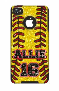 Customized Glitter Softball OtterBox Commuter Case For IPhone And Galaxy