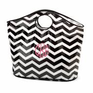 Monogrammed Open Handle Black Chevron Tote