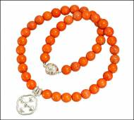 Orange Coral Stone Beaded Necklace With Shield Of Faith Pendant