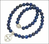 Navy Lapis Stone Beaded Necklace With Shield Of Faith Pendant