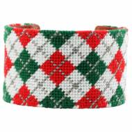 Christmas Argyle Needlepoint Cuff