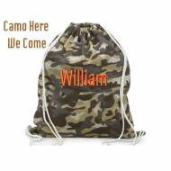 Monogrammed Canvas Camo Sling Bag For Clothes, Toys Or Sports Gear