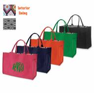 Monogrammed Open Tote In Solid Colors With Patterned Lining