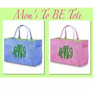 Personalized Baby Tote For New Mom's In Baby Pink Or Blue With Green Interior