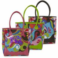 Monogrammed Floral Canvas Tote With Choice Of Green, Brown, Or Pink Handles