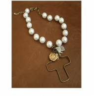 White Pearl Necklace With Brass And Silver Cross And Coin
