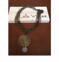Brass Chain Necklace With Large Antique Looking Coin