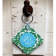 Monogrammed Round Or Square Key Chain In Preppy Colors