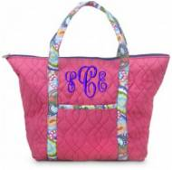 Monogram Quilted Paisley Tote In Navy, Pink Or Green
