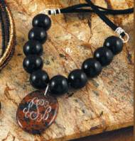 New Monogrammed  Marbled Brown And Black Pendant On Black  Onyx Beaded Necklace