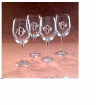 Monogrammed All Purpose Wine Glasses