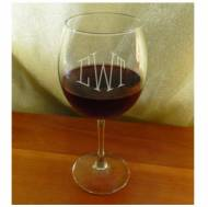 Monogrammed Balloon Red Wine Glasses