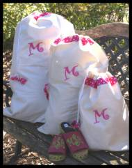 Ribbon Trimmed Drawstring Bags-